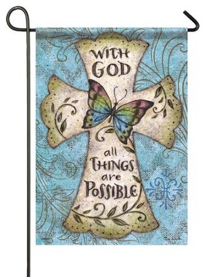 With God All Things Are Possible, Small Flag  -     By: Tina Wenke