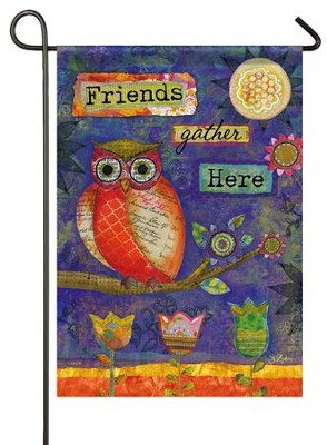 Friends Gather Here (owl), Small Flag  -     By: Sue Zipkin