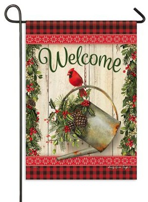 Christmas Welcome Flag, Cardinal & Watering Can, Small   -     By: Sandy Clough