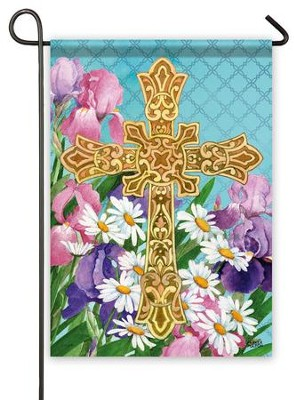 Easter Flowers Cross Flag, Small  -