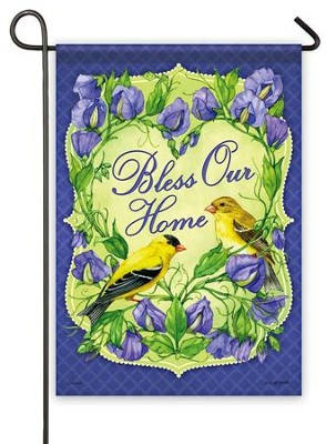 Bless Our Home, Goldfinch Flag, Small  -     By: Kate Beetle