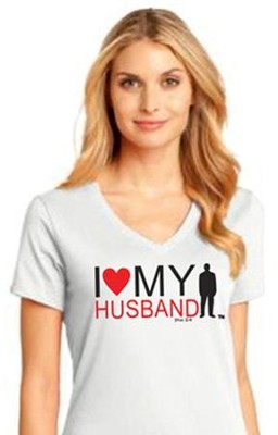 I Love My Husband Shirt, White, Medium  -