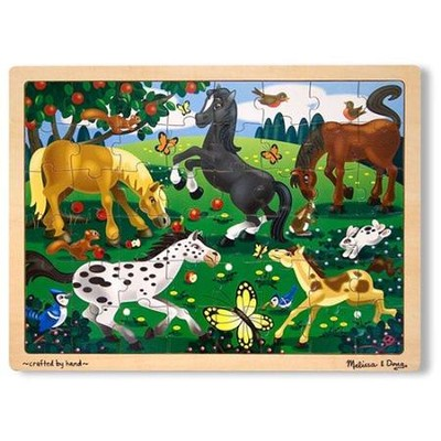 Frolicking Horses, 48-Piece Wooden Jigsaw Puzzle with Tray   -     By: Melissa & Doug