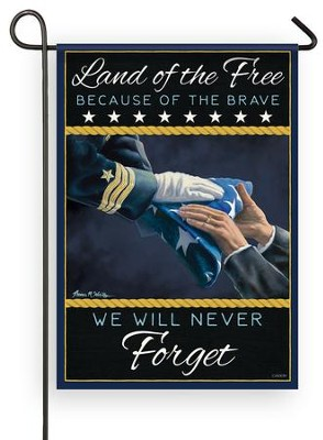 Land of the Free Because of the Brave, Navy, Flag, Small  -     By: Tom Wosika