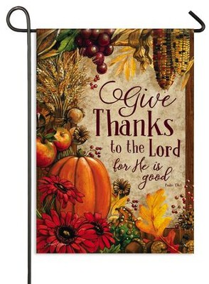 Give Thanks, Lords Bounty Flag, Small  -     By: Janet Stever