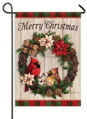 Merry Christmas, Cardinal Wreath Flag, Small  -     By: Janet Stever