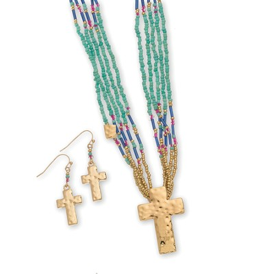 Bead Cross Necklace and Earrings Set, Gold and Multi  -
