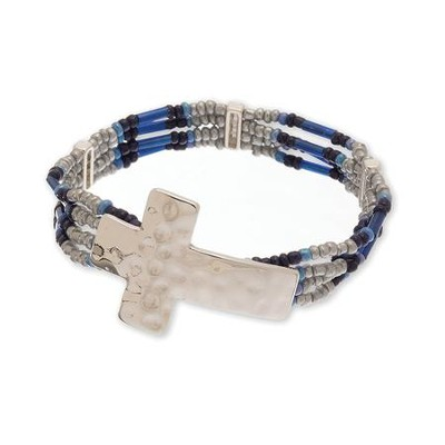 Hammered Cross Bead Bracelet, Silver and Blue  -