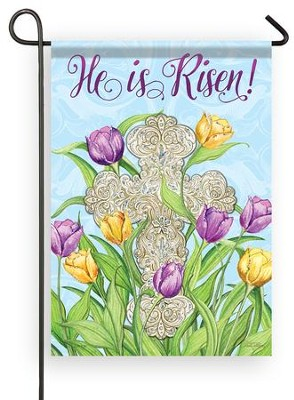 He Is Risen, Cross, Glitter Flag, Small  -     By: Nicole Tamarin