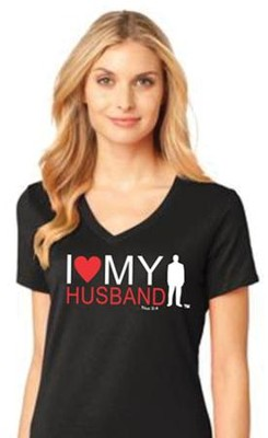 I Love My Husband Shirt, Black, Small  -
