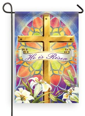 He Is Risen, Stained Glass, Small Flag  -     By: Janet Stever