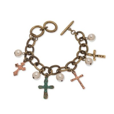 Cross and Pearl Link Bracelet, Patina  -