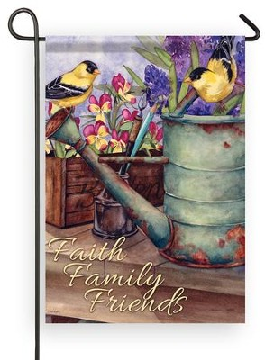 Faith, Family, Friends (goldfinches), Small Flag  -     By: Michelle Palmer