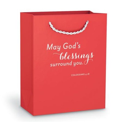 May God's Blessings Gift Bag, Red, Small  -