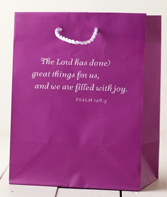The Lord Has Done Great Things Gift Bag, Purple, Medium  -