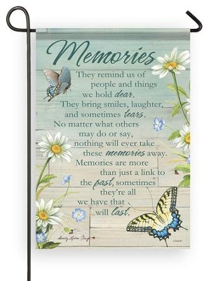 Memories, They Remind Us of People and Things Flag, Small  -     By: Sandy Clough