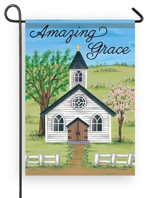 Amazing Grace, Church in Spring, Flag, Small  -     By: Lisa Kennedy