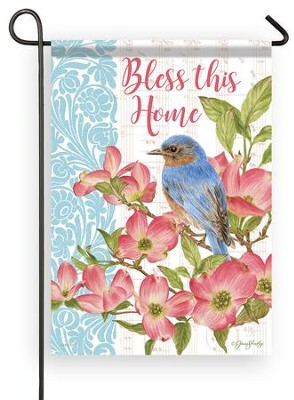 Bless This Home, Bluebird, Small Flag     -     By: Jane Shasky
