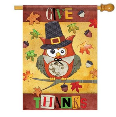 Give Thanks Owl Flag, Large   -     By: Donna Knold