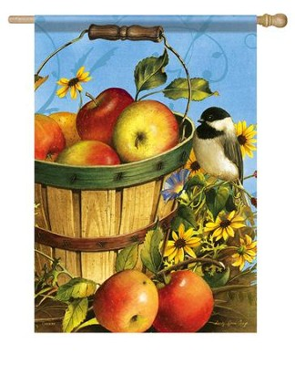 Chickadees and Apples Flag, Large  -     By: Sandy Clough