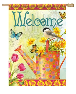 Welcome Blooms Flag, Large  -     By: Sandy Clough