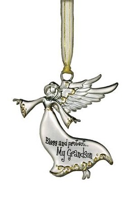 Bless and Protect... My Grandson Guardian Angel Ornament  -