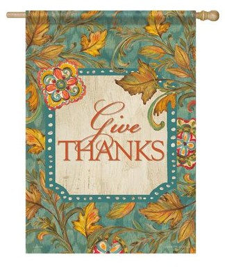 Give Thanks, Leaves Flag, Large  -     By: Kate McRostie