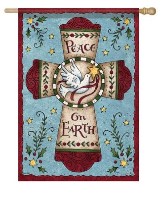 Peace On Earth, Cross Flag, Large  -     By: Tina Wenke