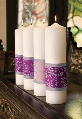Emmanuel Advent Pillar Candle Set/ 3 purple, 1 pink  (3 x 12)  -
