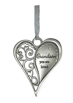 Grandson, You Are Loved Heart Ornament  -