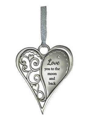 Love You to the Moon and Back Heart Ornament  -