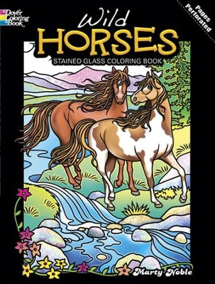 Wild Horses Stained Glass Coloring Book  -     By: Marty Noble