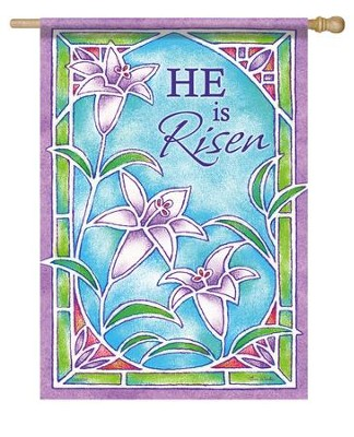 He is Risen Stained Glass Design Flag L   -     By: Tina Wenke
