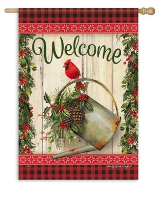 Christmas Welcome Flag, Cardinal & Watering Can, Large   -     By: Sandy Clough
