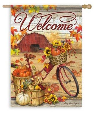 Fall Farm Welcome, Large Flag  -     By: Sandy Clough