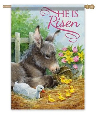He Is Risen, Donkey Flag, Large  -     By: Hazel Lincoln