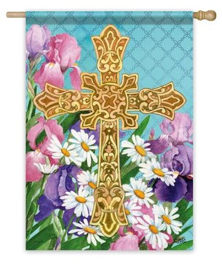 Easter Flowers Cross Flag, Large  -