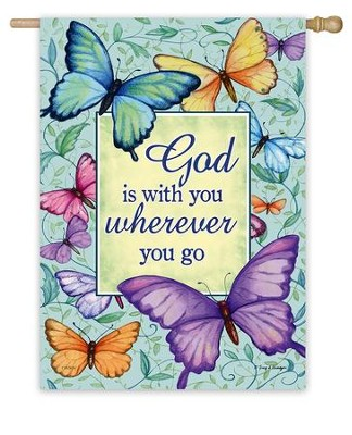 God Is With You Wherever You Go Flag, Large  -