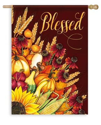 Blessed, Wheat Bouquet Flag, Large  -     By: Nicole Tamarin
