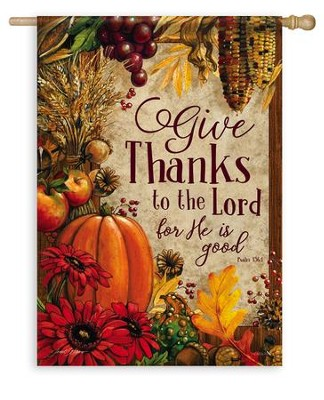 Give Thanks, Lords Bounty Flag, Large  -     By: Janet Stever