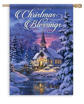 Christmas Blessings, Country Church Flag, Large  -     By: Corbert Gauthier