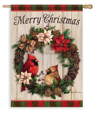 Merry Christmas, Cardinal Wreath Flag, Large  -     By: Janet Stever