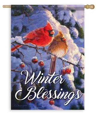 Winter Blessings, Cardinal Flag, Large  -     By: Darrell Bush