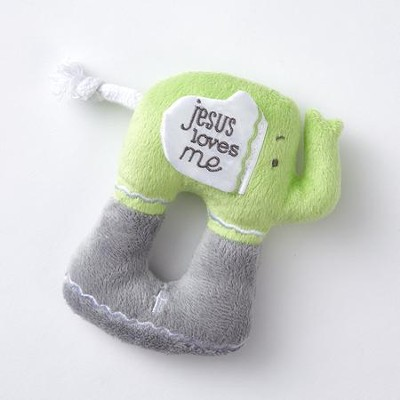 Elephant Plush Rattle, Jesus Loves Me  -