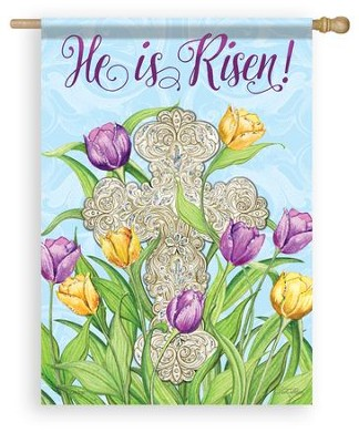 He is Risen, Cross, Flag, Large  -     By: Nicole Tamarin