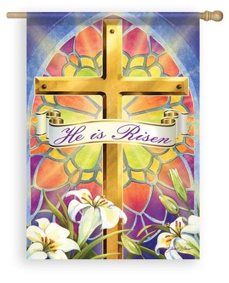 He Is Risen, Stained Glass, Large Flag  -     By: Janet Stever