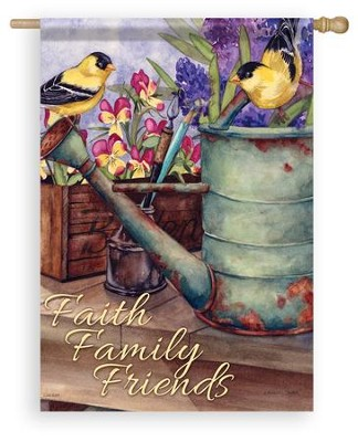 Faith, Family, Friends (goldfinches), Large Flag  -     By: Michelle Palmer