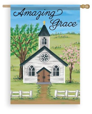 Amazing Grace, Church in Spring, Flag, Large  -     By: Lisa Kennedy