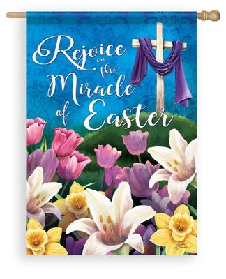 Rejoice in the Miracle of Easter Flag, Large  -     By: Gina Jane