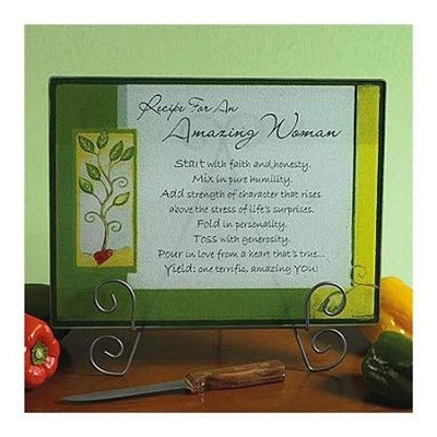 Recipe For An Amazing Woman, Glass Cutting Board   -